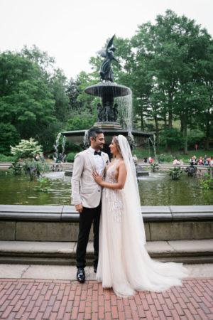 Central Park Fountain Wedding Portrait