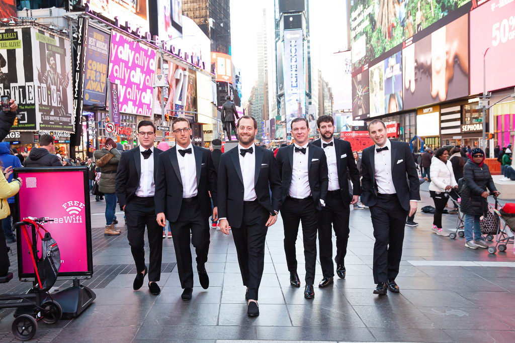 Chic Groomsmen in Times Square