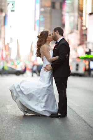 Elegant Times Square Wedding Photo