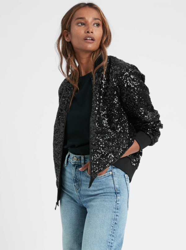 1 Black Sequin Bomber Jacket