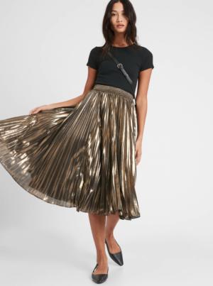 8 Metallic Gold Pleated Midi Skirt